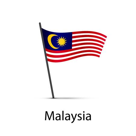 Malaysia flag on pole, infographic element on white
