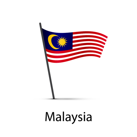 Malaysia flag on pole, infographic element on white
