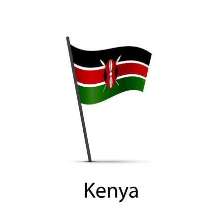 Kenya flag on pole, infographic element isolated on white
