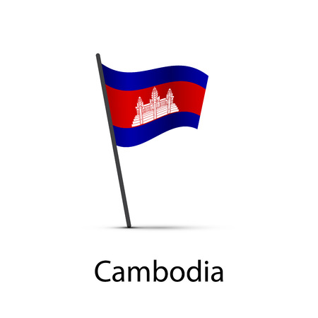 Cambodia flag on pole, infographic element isolated on white 向量圖像