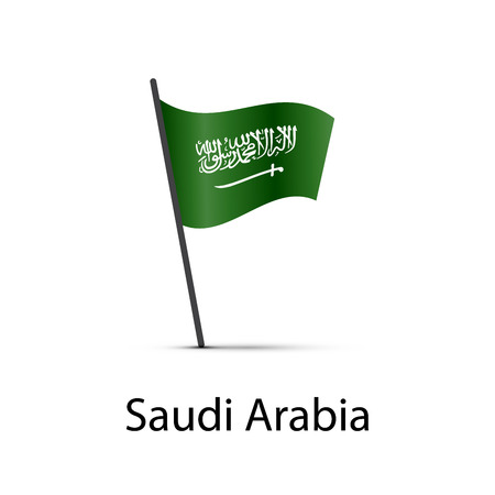 Saudi Arabia flag on pole, infographic element isolated on white