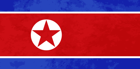 True proportions North Korea flag with grunge texture Imagens - 121825828