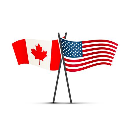 Bandiere di Stati Uniti e Canada sui pali isolati su bianco