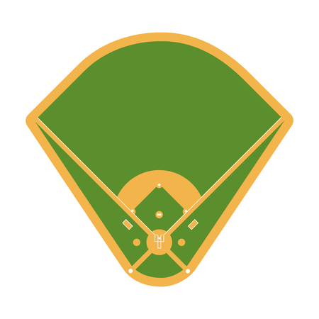 Sport field with green grass and white marking for baseball on white