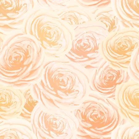 Bright yellow and orange rosebuds, flower seamless pattern Illustration