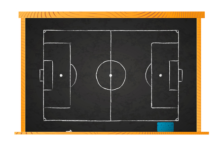 White chalk football field plan on blackboard isolated on white Ilustrace