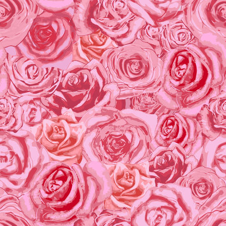 Beautiful bright pink rosebuds, lovely seamless pattern