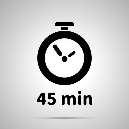 Forty five minutes timer simple black icon with shadow on gray