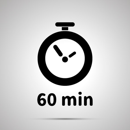 Sixty minutes timer simple black icon with shadow Ilustrace