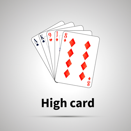 High card poker combination with shadow on gray