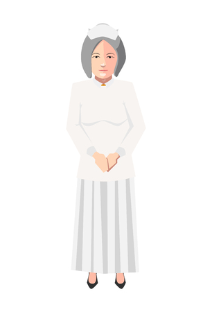 Old nurse in white medical robe, flat character isolated on white