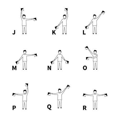 Semaphore signs alphabet, black latin letters isolated on white