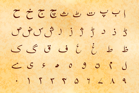 Set of ancient alphabet symbols of Urdu language on old parchment