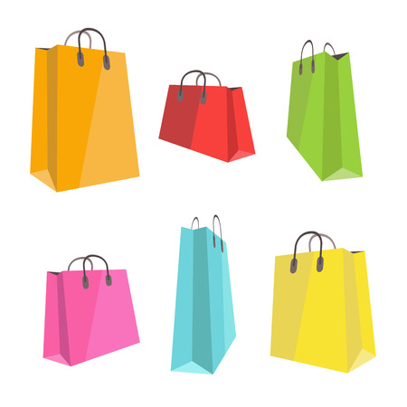Set of flat colorful shopping bags isolated on white Illustration