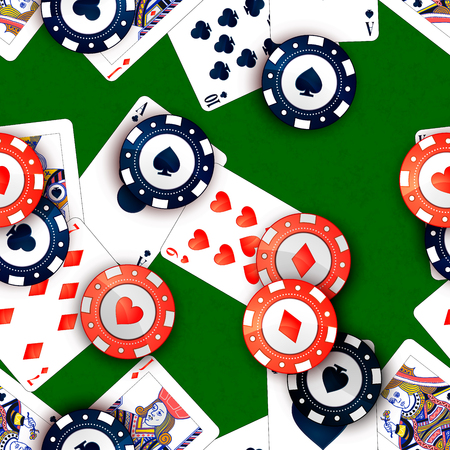 Bright casino chips and poker cards on green table, seamless pattern