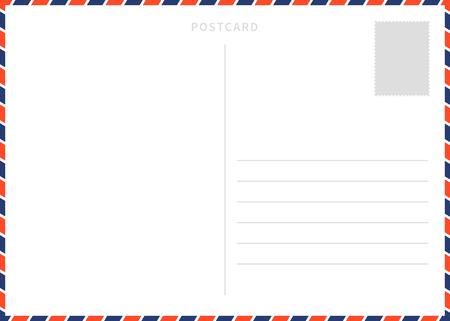 Plantilla clásica de postal blanca en blanco con borde de correo aéreo