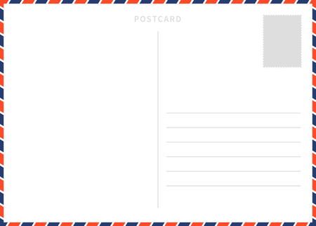 Classic blank white postcard template with airmail border