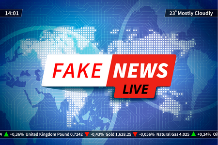 Fake news background, screen saver with world map