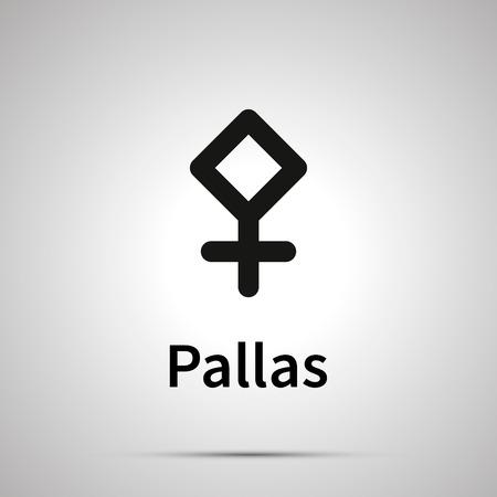 Signo astronómico de Pallas, simple icono negro con sombra