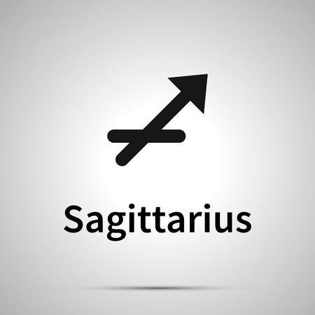 Sagittarius astronomical sign, simple black icon with shadow on gray
