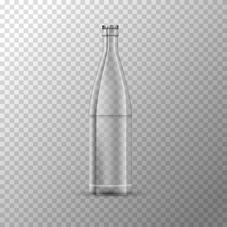 Glossy glass jar bottle on transparent back