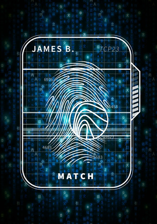 Fingerprint scan futuristic concept on blue matrix symbols