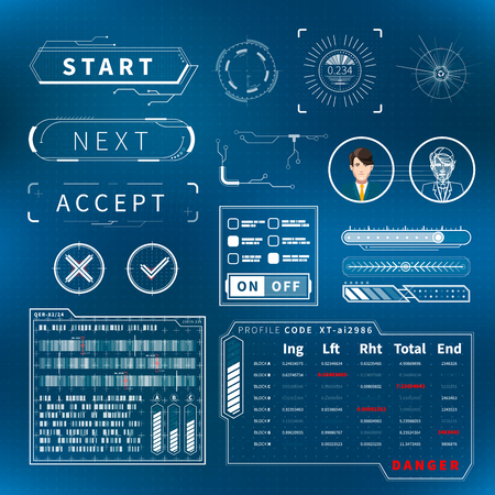Set of bright white futuristic user interface elements on blue Vector Illustration