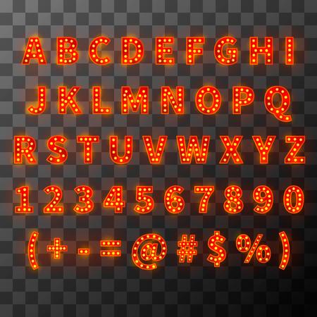 Lighting bulb font, alphabet in cabaret style