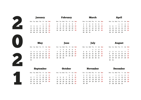 Calendar on 2021 year with week starting from monday, A4 horizontal sheet Vectores