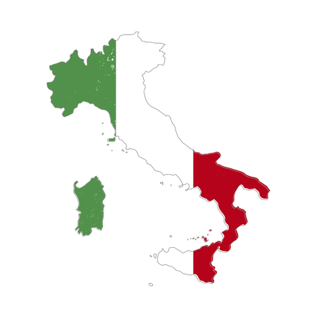 Italy country silhouette with flag on background, isolated on white Illustration