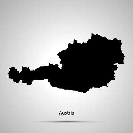 Austria country map, simple black silhouette on gray