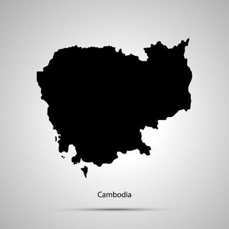 Cambodia country map, simple black silhouette