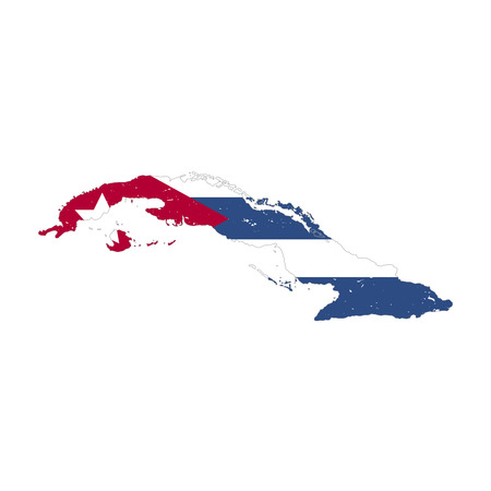 Cuba country silhouette with flag on background on white.eps Ilustração