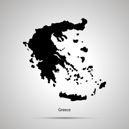 Greece country map, simple black silhouette