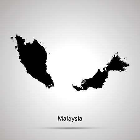Malaysia country map, simple black silhouette