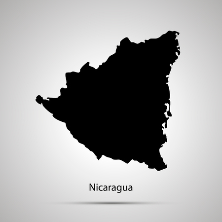 Nicaragua country map, simple black silhouette on gray