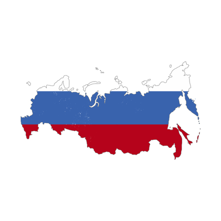 Russia country silhouette with flag on background, isolated on white