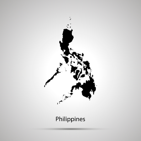 Philippines country map, simple black silhouette on gray 免版税图像