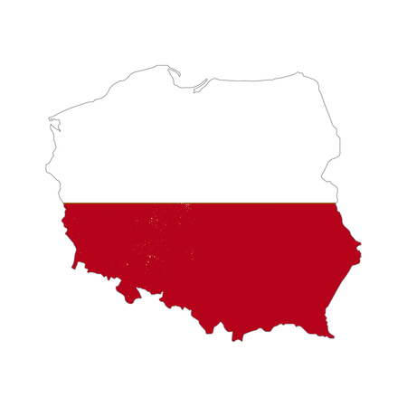 Poland country silhouette with flag on background, isolated on white Ilustração