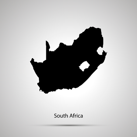 South Africa country map, simple black silhouette on gray