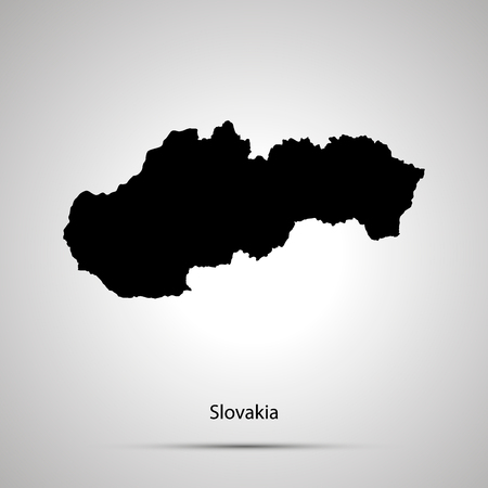 Slovakia country map, simple black silhouette on gray
