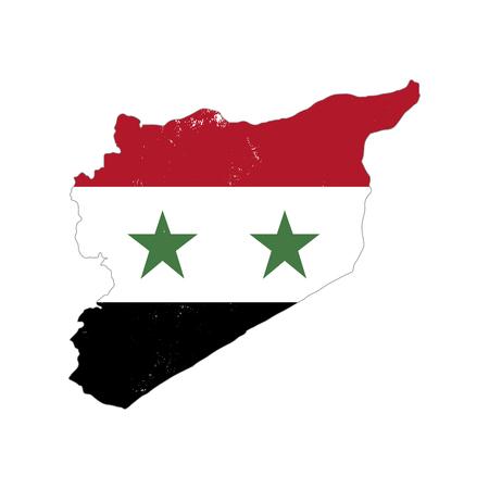 Silueta de país de Siria con bandera en el fondo, aislado en blanco Ilustración de vector