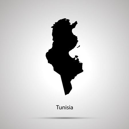 Tunisia country map, simple black silhouette on gray Vettoriali