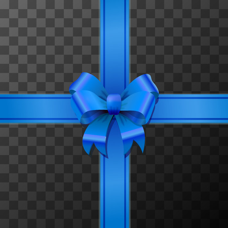 Bright blue bow-knot with tape on transparent background