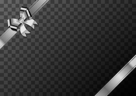 Heller süßer silberner Schleifenknoten mit Klebeband auf transparentem Hintergrund Vektorgrafik
