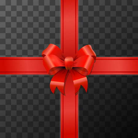 Bright red bow-knot with tape on transparent background