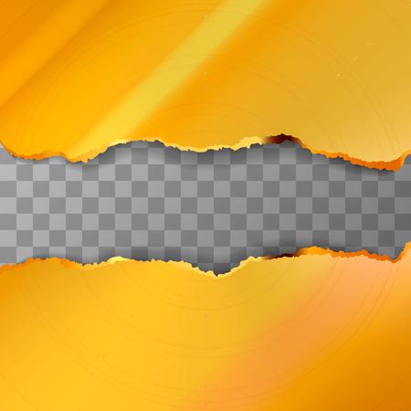 Metal torn golden pieces on transparent background Illustration