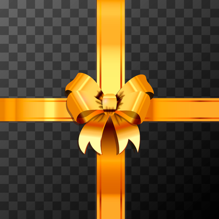 Bright golden bow-knot with tape on transparent