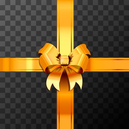 Leuchtend goldener Schleifenknoten mit Klebeband auf transparent