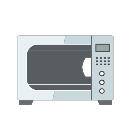 Microwave in flat style illustration isolated on white Çizim
